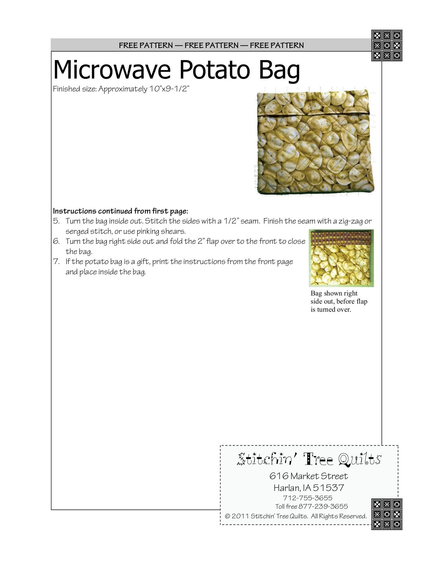 Microwave Potato Bag Pattern : microwave, potato, pattern, PATTERN, Microwave, Potato, Stitchin', Quilts, Pages, Download, FlipHTML5