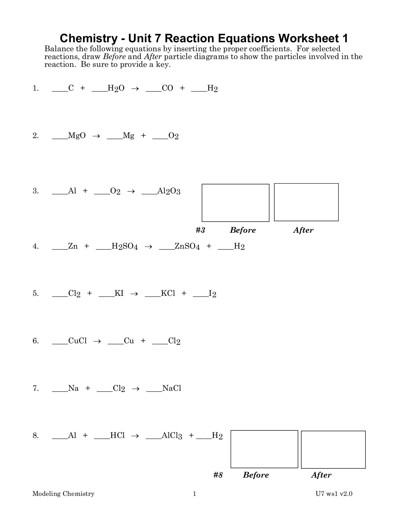 Chemistry Unit 4 Worksheet 1 Answers