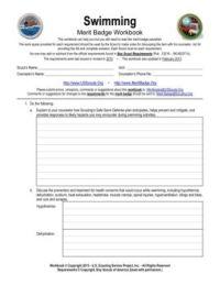 Boy Scout Swimming Merit Badge Worksheet Free Worksheets ...