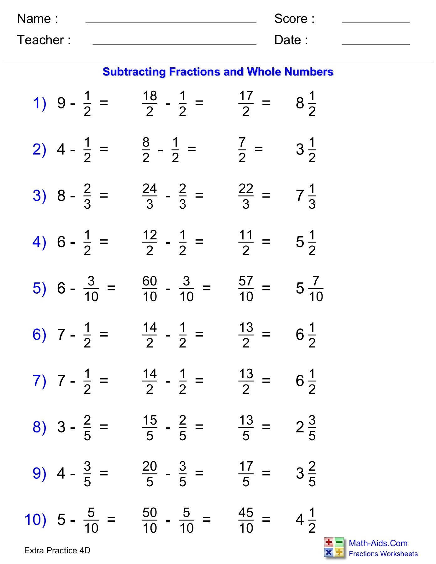 Subtracting Fractions With Whole Numbers