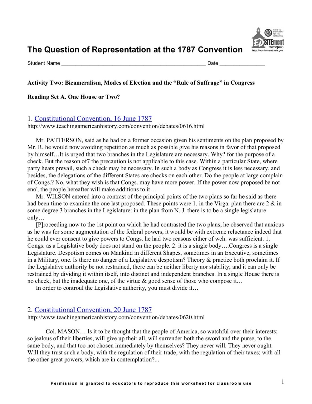 medium resolution of The Constitutional Convention Worksheet - Promotiontablecovers
