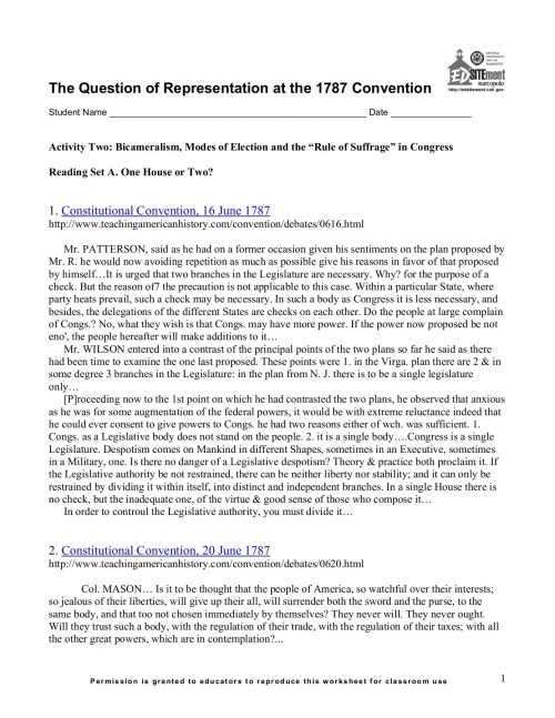 small resolution of The Constitutional Convention Worksheet - Promotiontablecovers