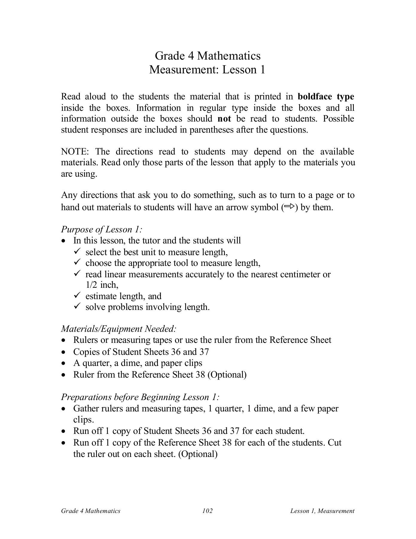 Measurement Tool Worksheet For Grade 2