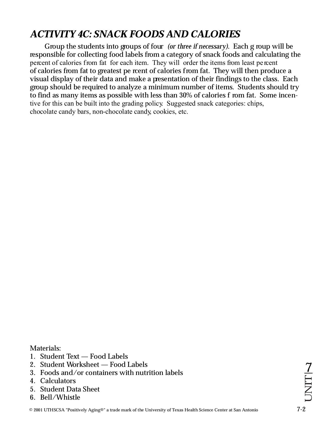 35 Food Label Worksheet