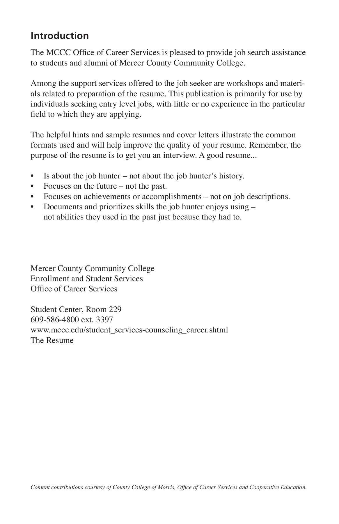 Hints For Good Resumes The Resume Mercer County Community College Pages 1 28 Text