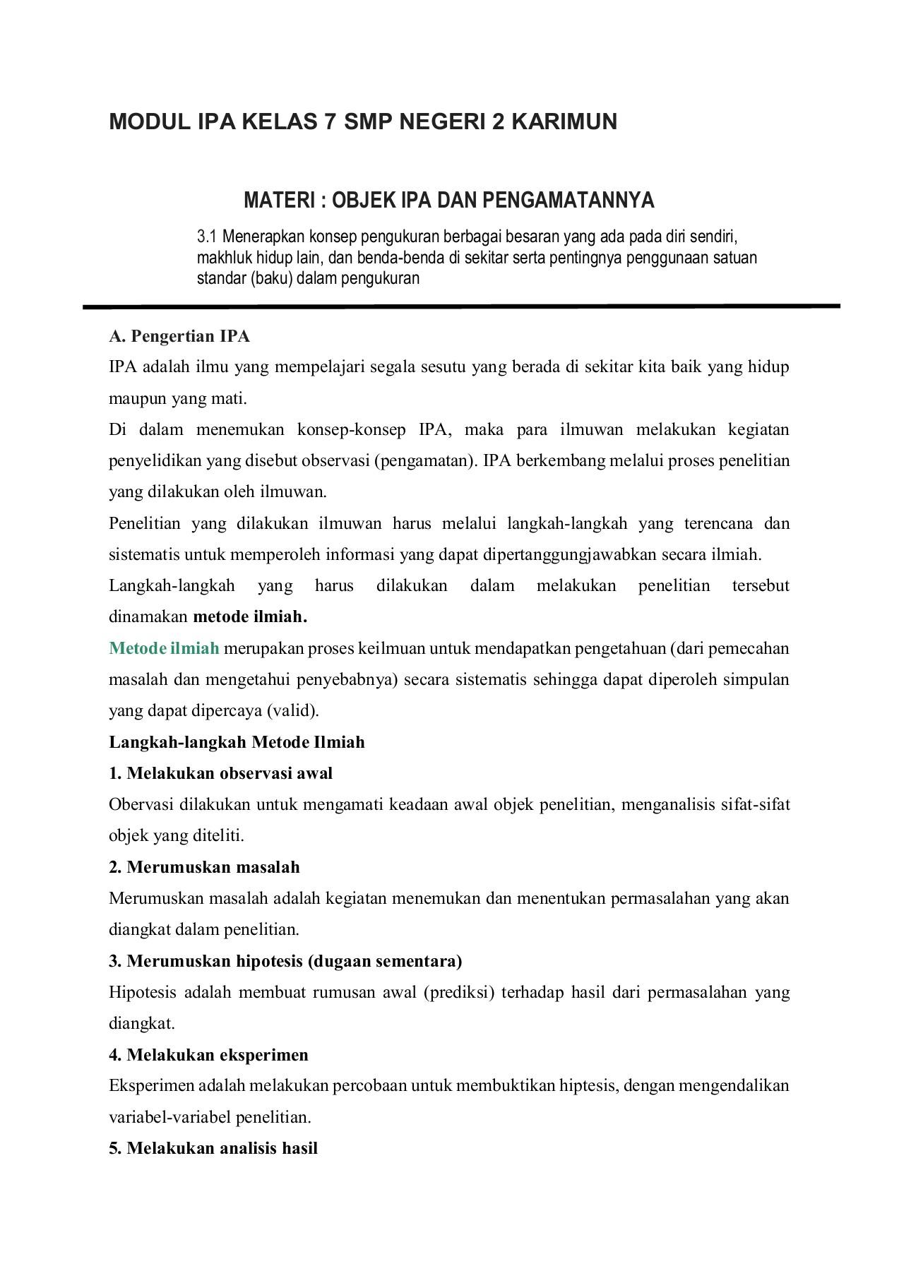 Penyelidikan Ipa Kelas 7 : penyelidikan, kelas, MODUL, KELAS, NEGERI, KARIMUN, Pages, Download, FlipHTML5