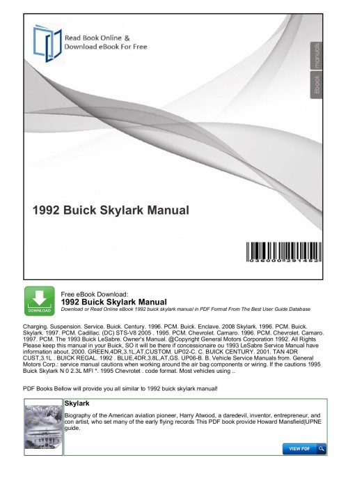 small resolution of  array 1992 buick skylark manual productmanualguide pages 1 3 text rh