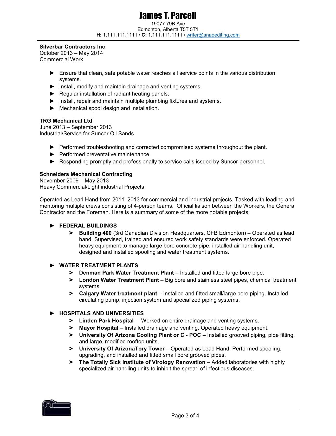 Pipefitter Resume Example