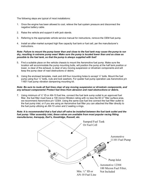 small resolution of aeromotive 11101 fuel pump installation instructions pages 1 7 text version fliphtml5