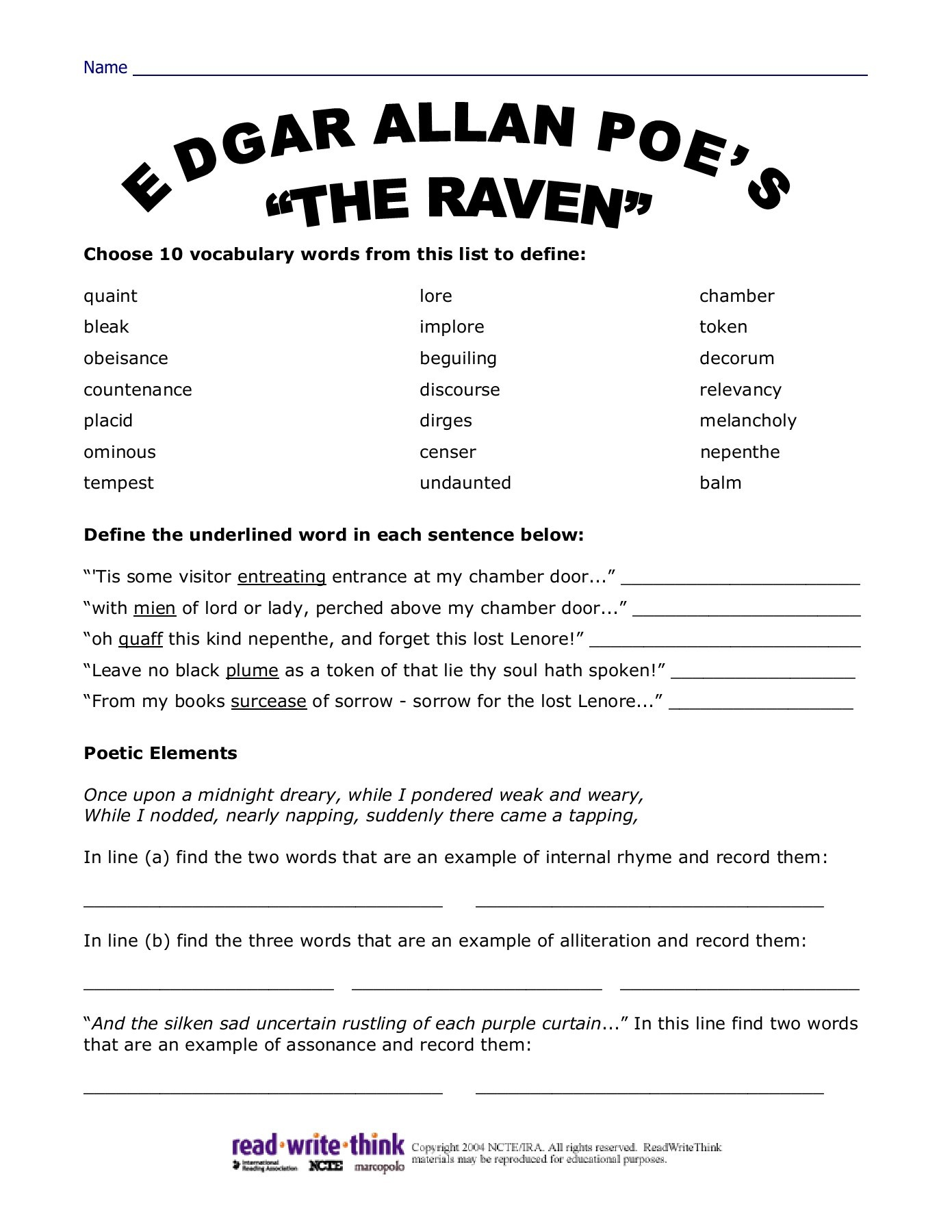 Edgar Allan Poes The Raven Worksheet Answers Read Write Think