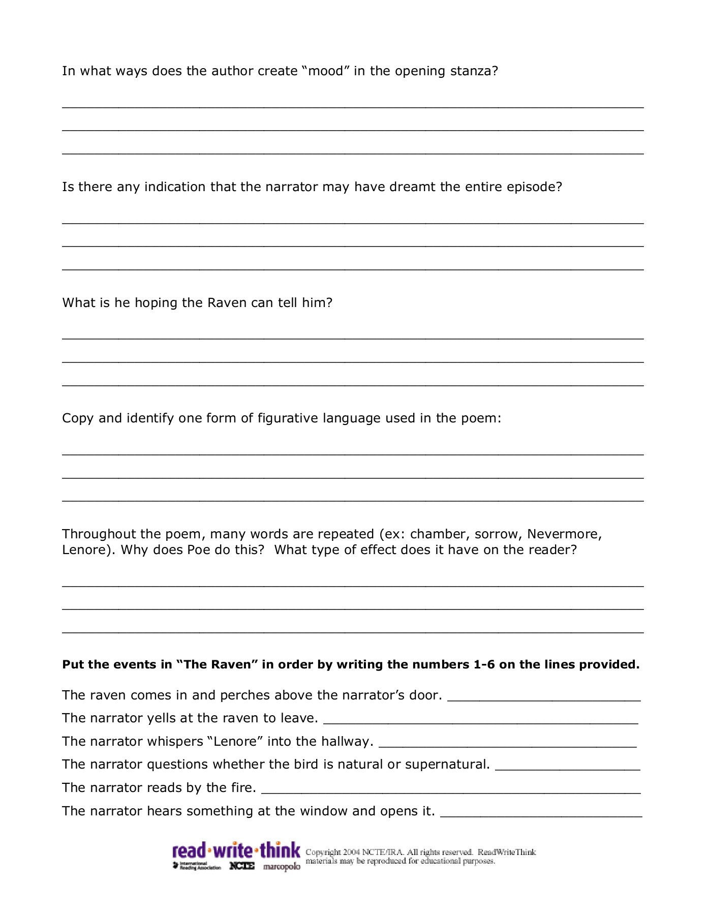 Printables Of Edgar Allan Poe S The Raven Worksheet