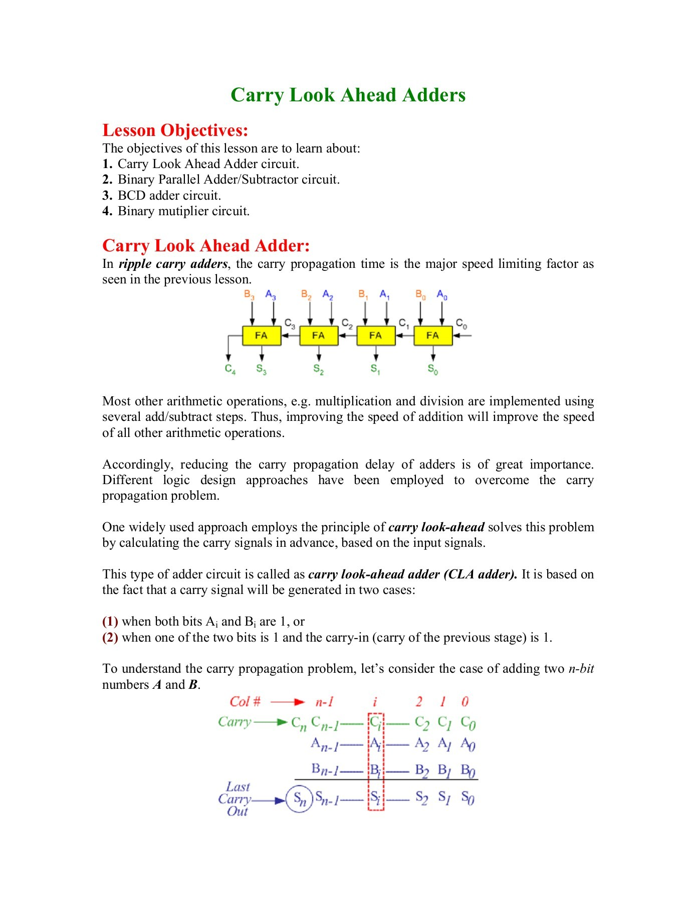 hight resolution of carry look ahead adder faculty personal homepage kfupm
