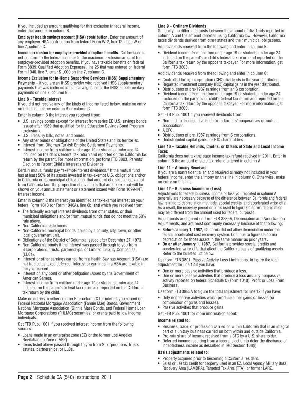 California Tax Table 540 2ez   Review Home Decor