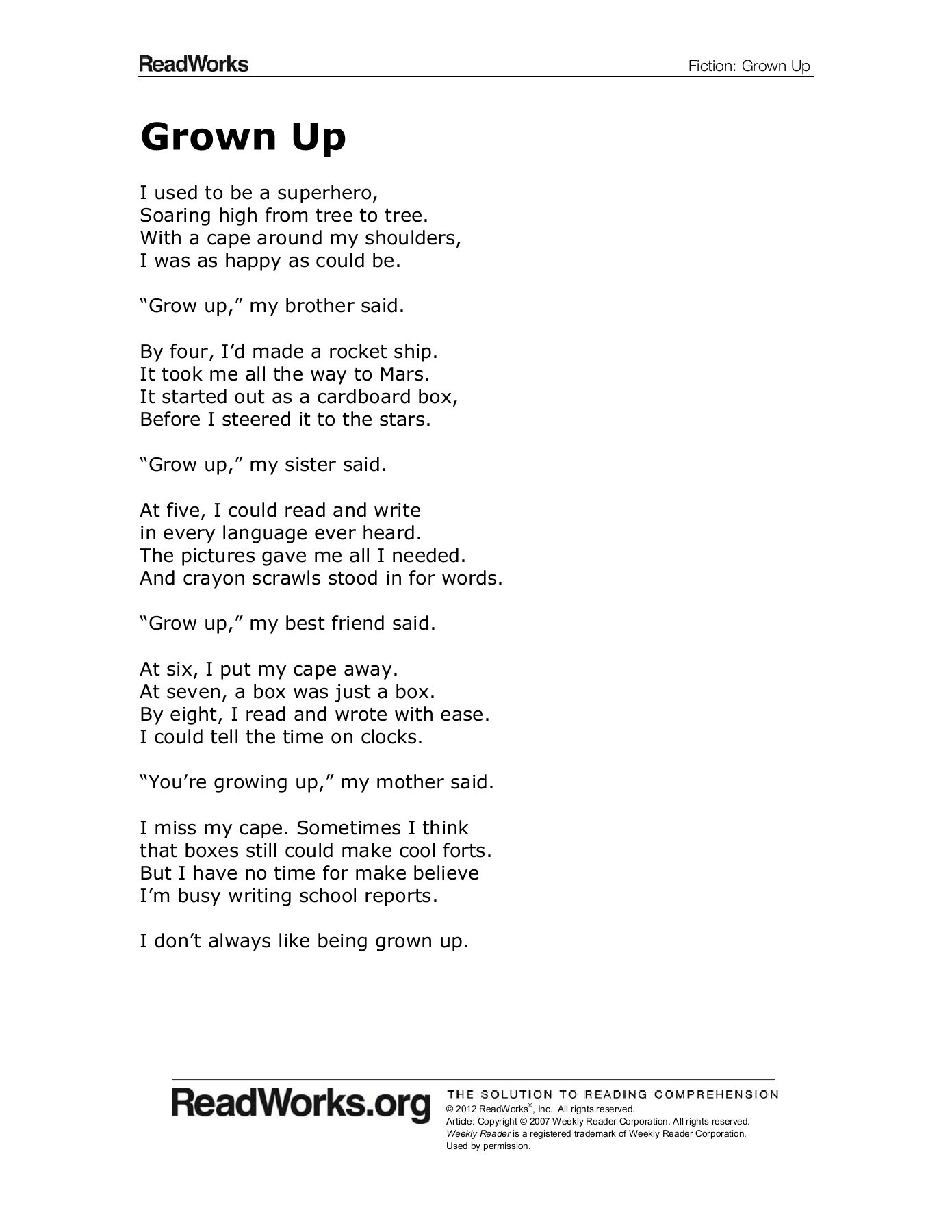 All Grown Up You Re A Friend To Me : grown, friend, Grown, ReadWorks.org, Pages, Download, FlipHTML5