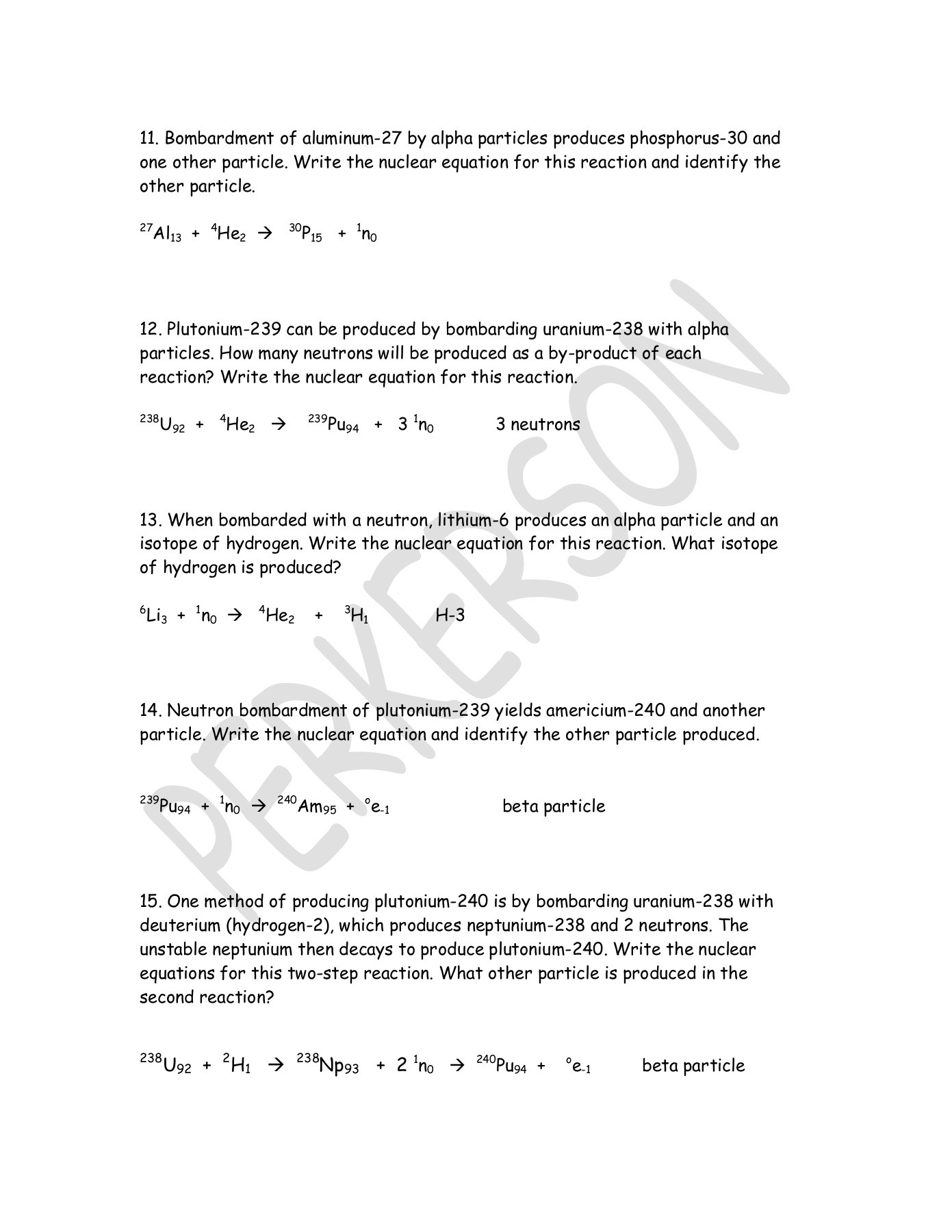 Nuclear Equations Alpha And Beta Decay Worksheet Answers