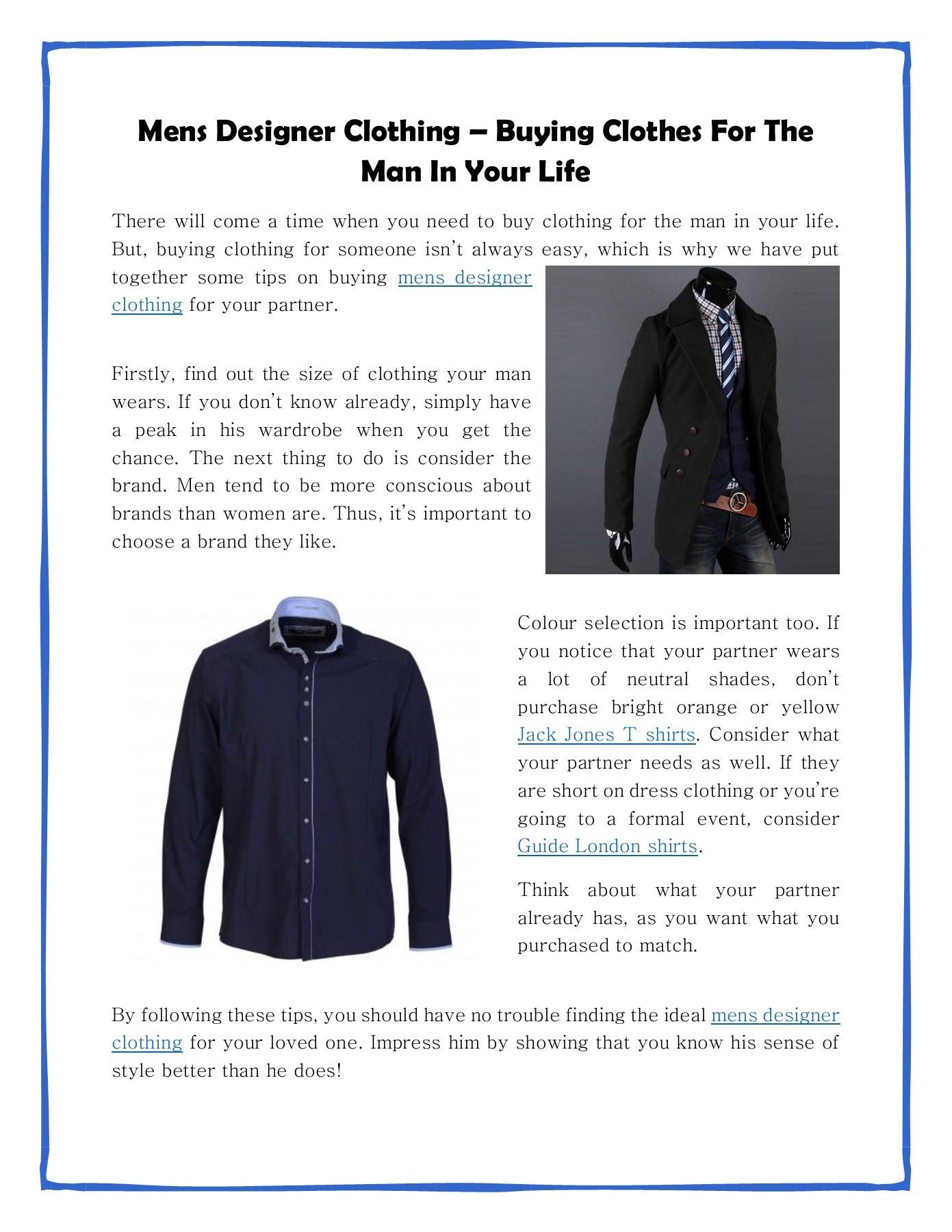Mens Designer Clothing Sales Online