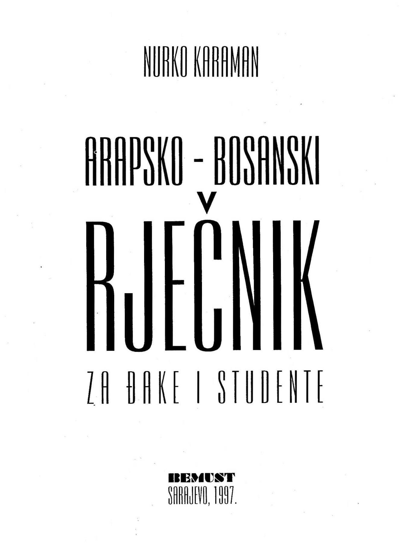 ARAPSKO BOSANSKI RIJECNIK PDF