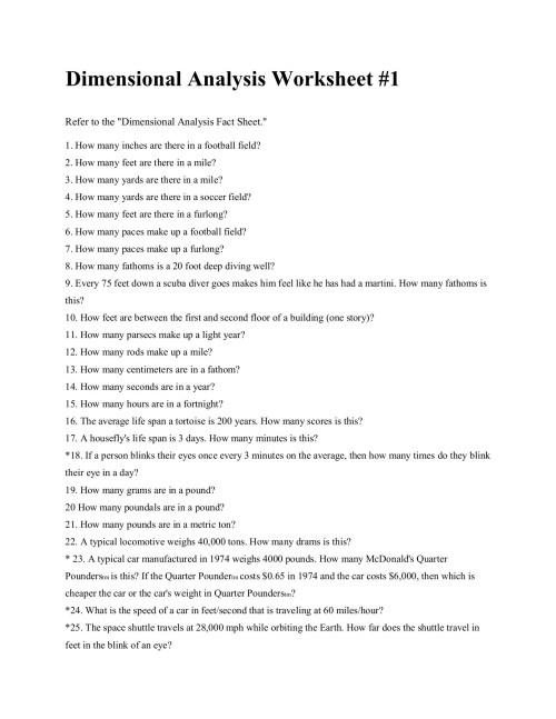 small resolution of Dimensional Analysis Worksheet 1 - Worksheet List
