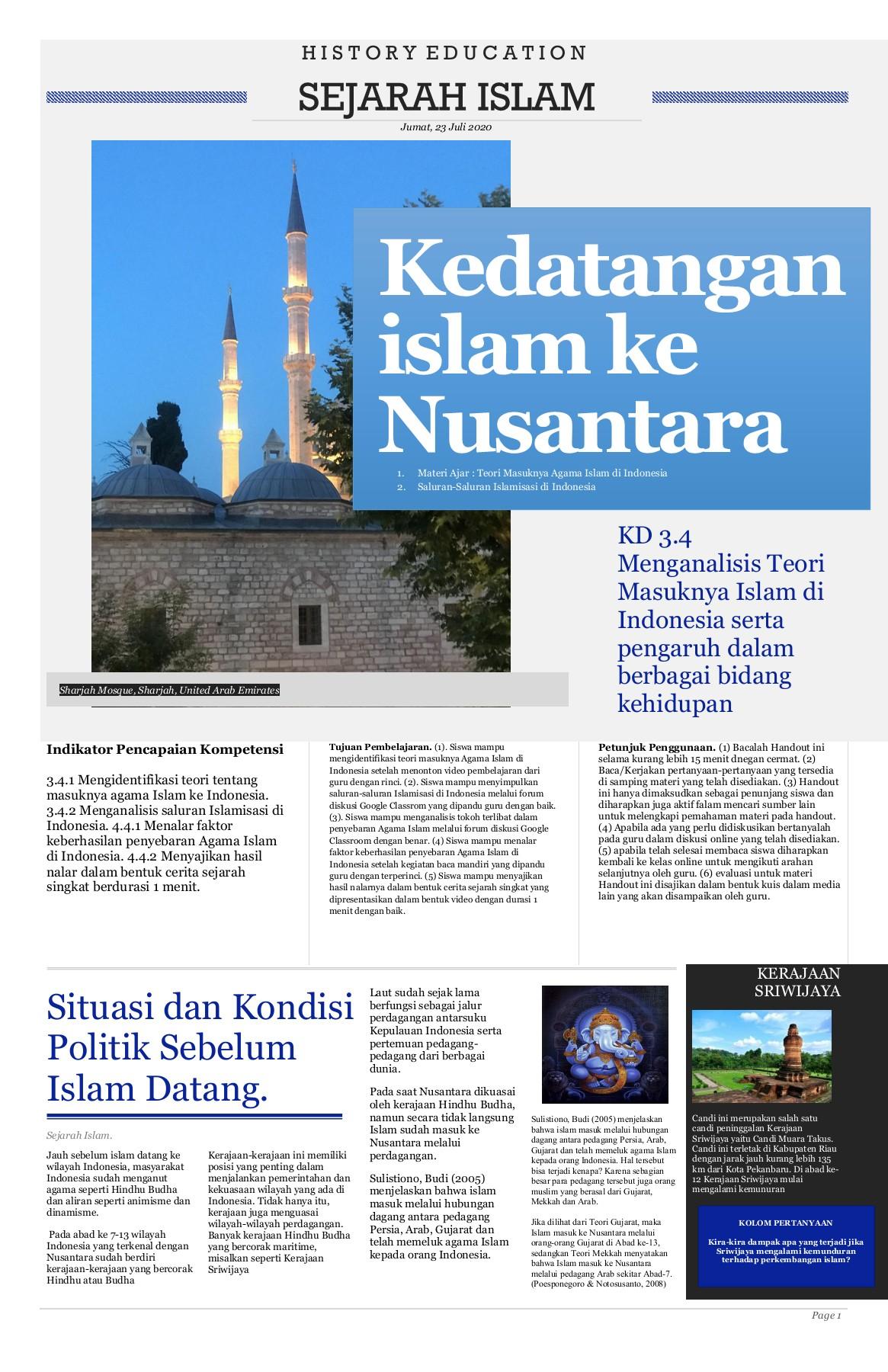 Sejarah Singkat Kerajaan Islam Di Indonesia : sejarah, singkat, kerajaan, islam, indonesia, Handout, Sejarah