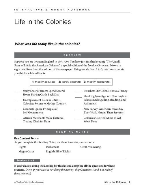 small resolution of Colonial Times Worksheet   Printable Worksheets and Activities for  Teachers