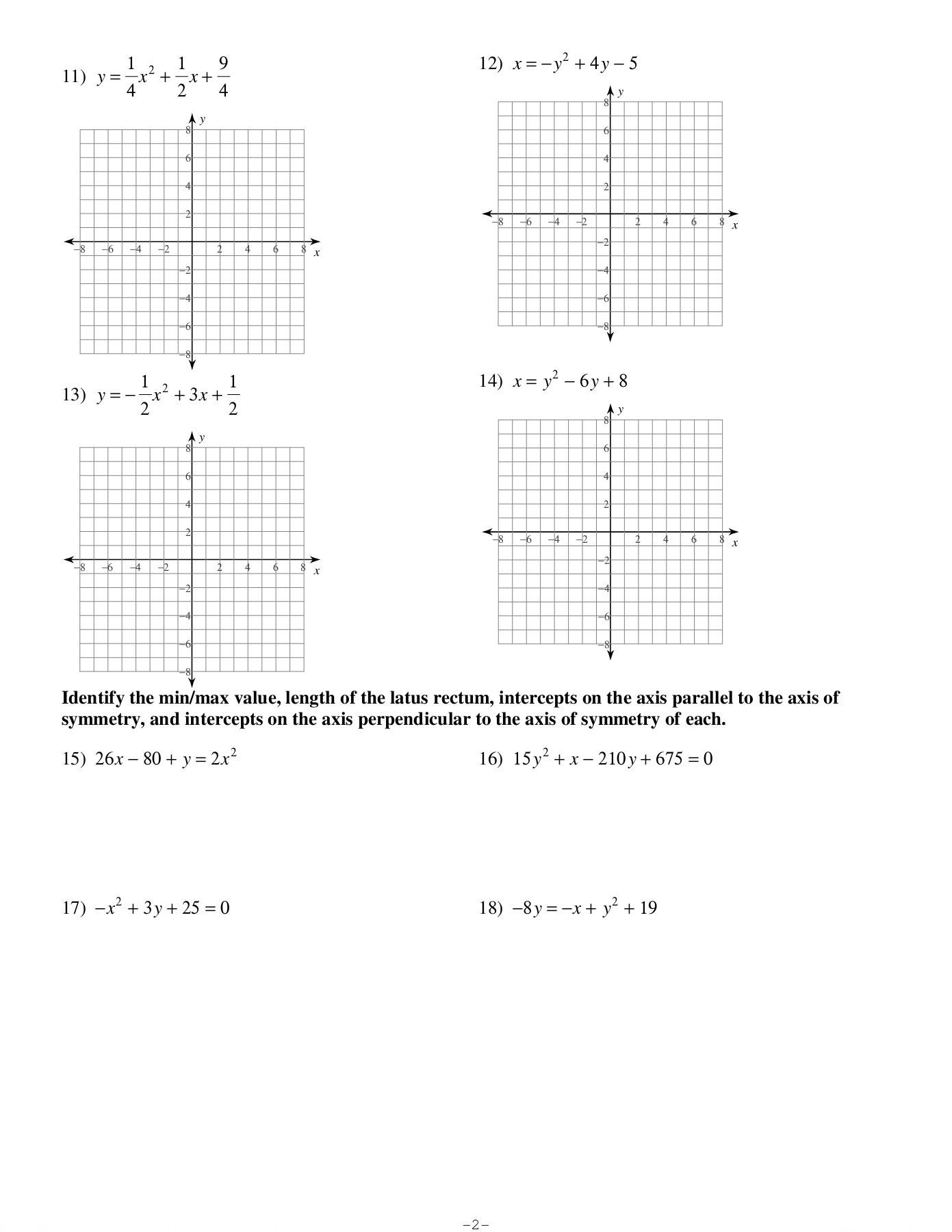 Algebra 2 Parabolas Worksheet