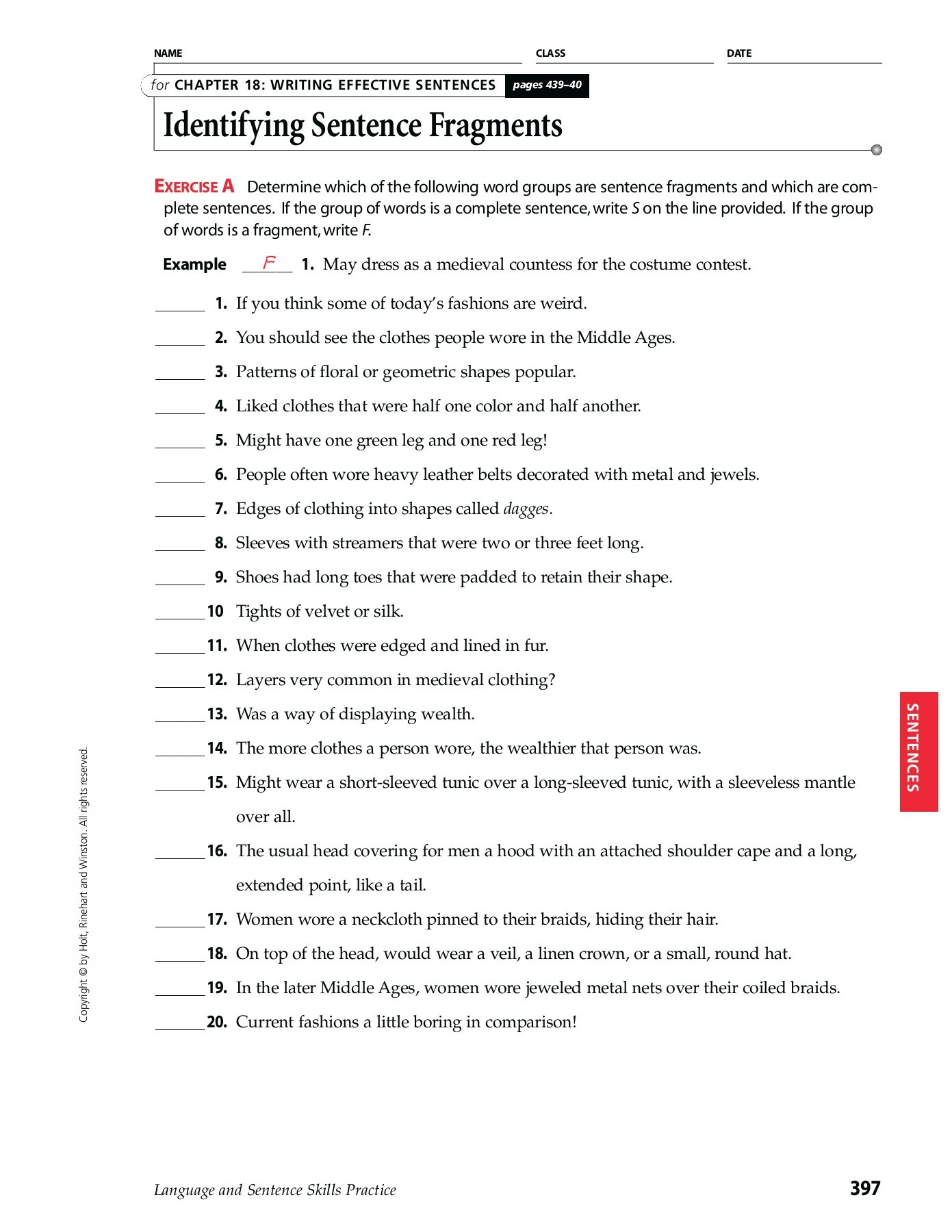 Fragment Worksheet 4th Grade