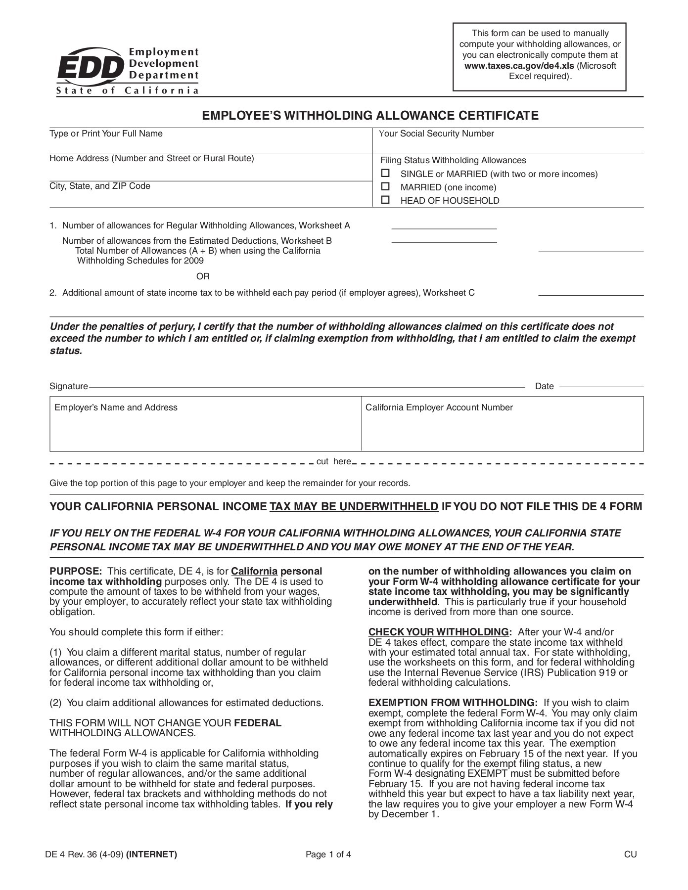 Personal Allowance Worksheet