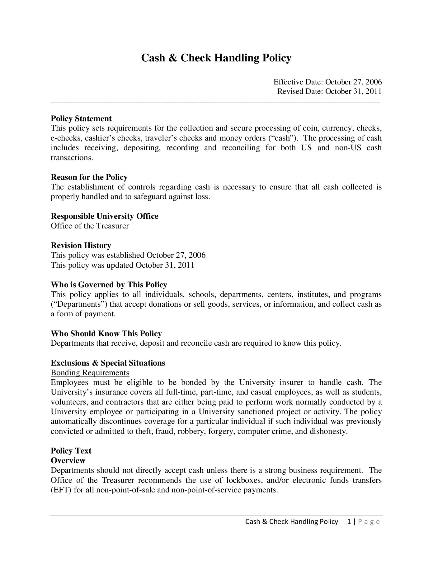 Cash Point 2011 : point, Check, Handling, Policy, Final, 10-31-11