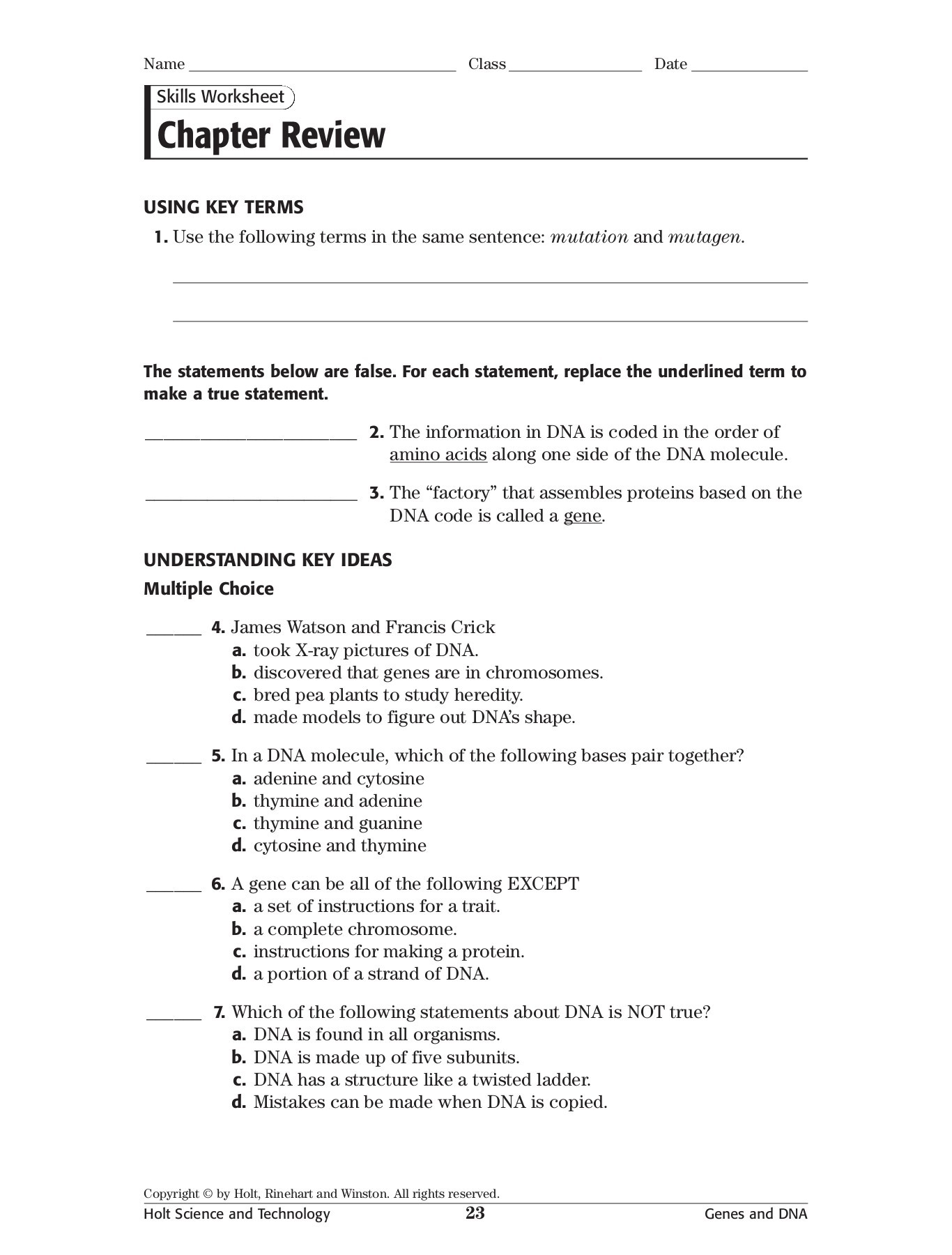 Printables Of Holt Rinehart And Winston Worksheet Answers