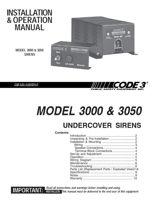 small resolution of model 3000 u0026 3050 sirens code 3 inc is the leader inmodel 3000