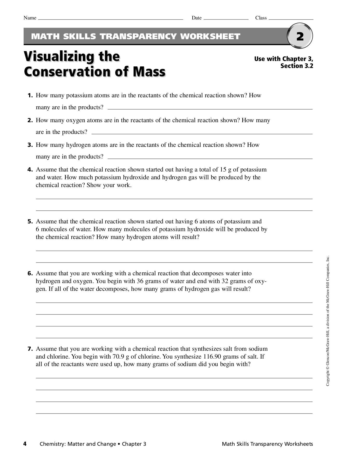 Math Skills Transparency Worksheet Answers