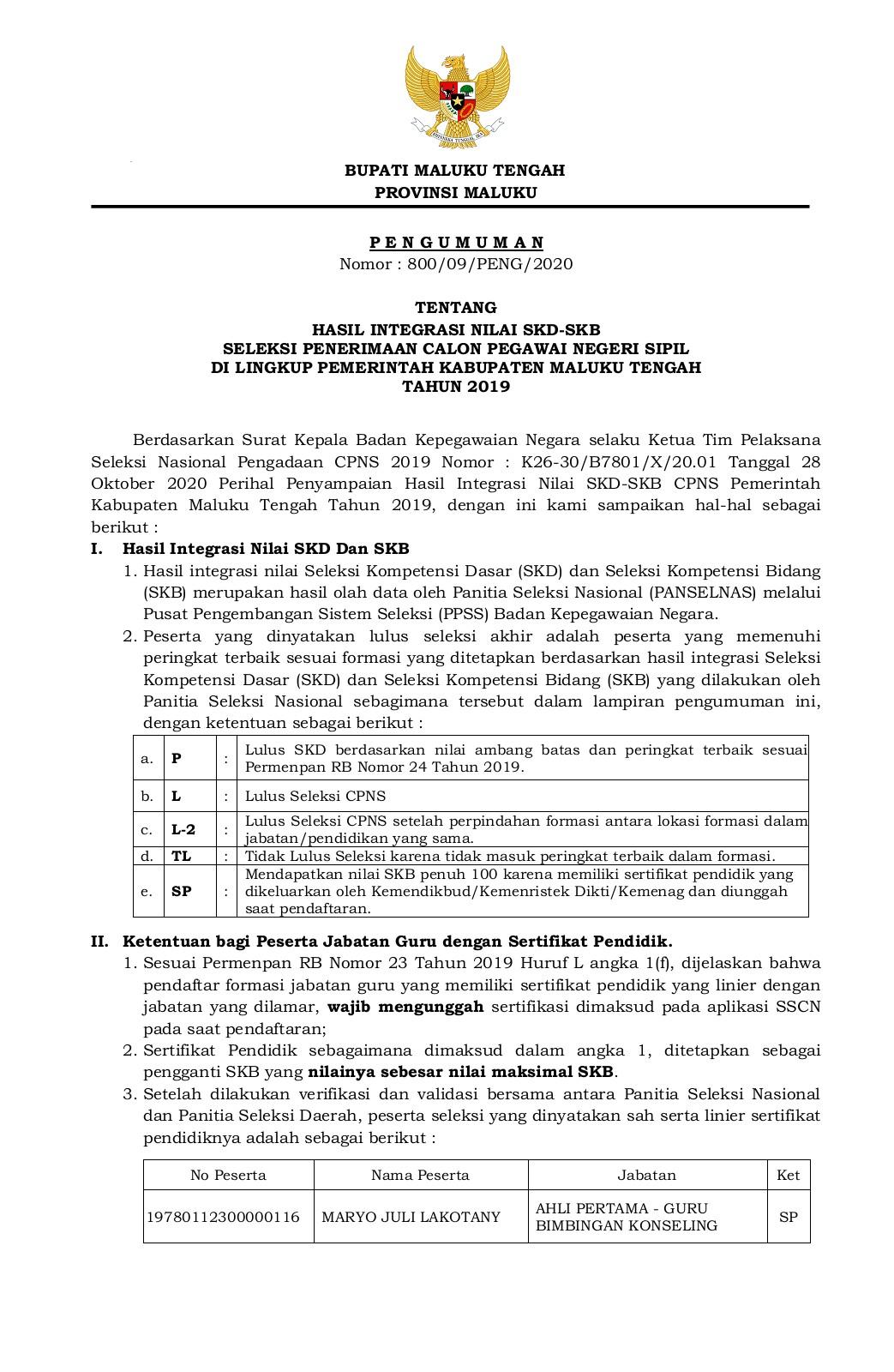 Formasi Cpns Kemenristekdikti 2019 : formasi, kemenristekdikti, Pengumuman, Hasil, Integrasi, Nilai, SKD-SKB, Maluku, Tengah