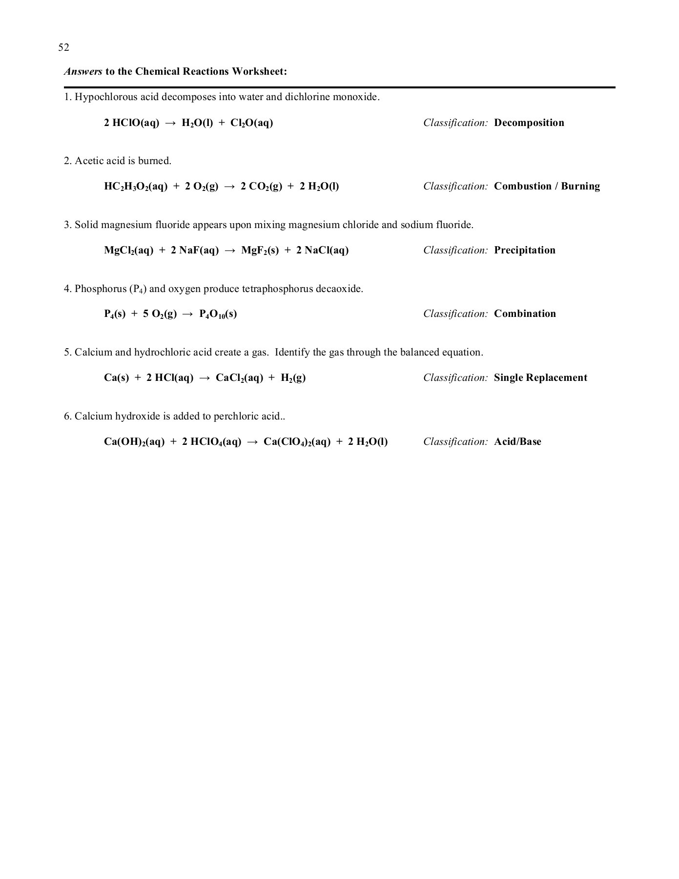 Worksheet 5 Mixed Chemical Reactions