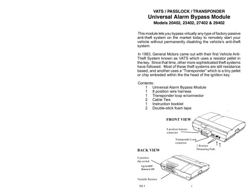 small resolution of vats passlock transponder universal alarm bypass module pages 1 7 text version fliphtml5