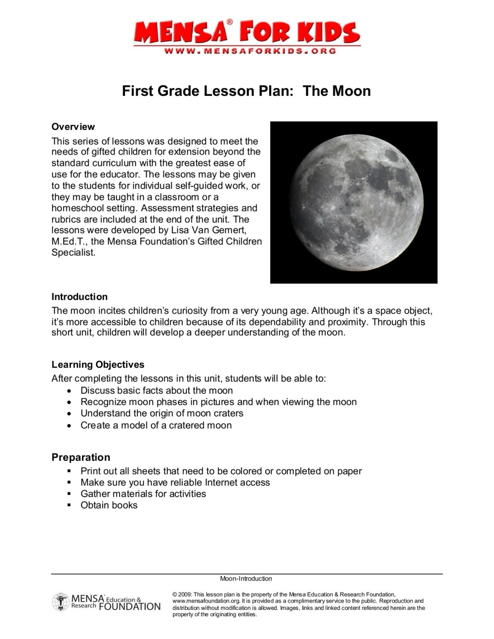 medium resolution of First Grade Lesson Plan about the Moon - American Mensa