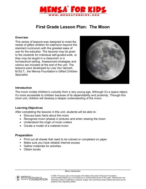 small resolution of First Grade Lesson Plan about the Moon - American Mensa