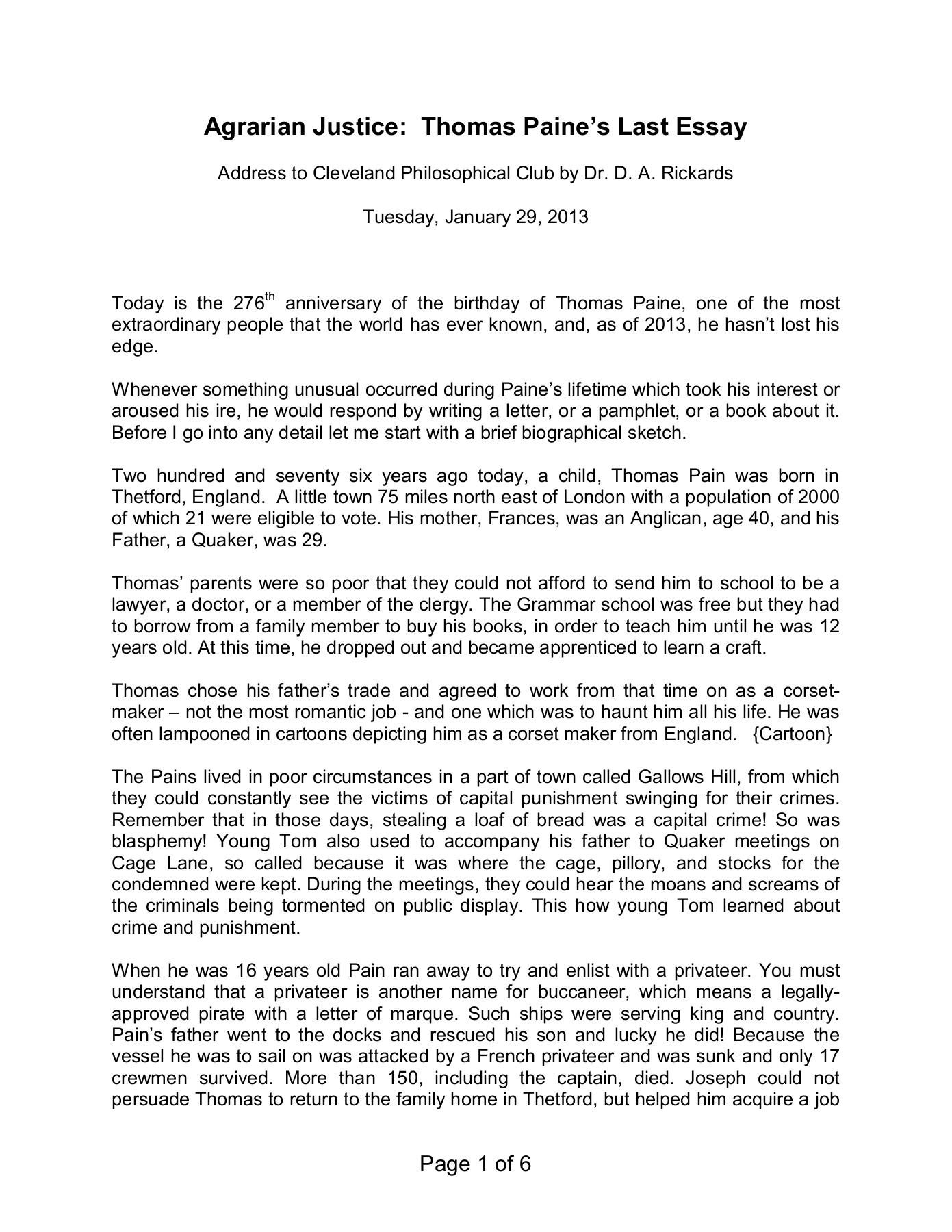Thomas Paine Essay Thomas Paine American Crisis 02 05