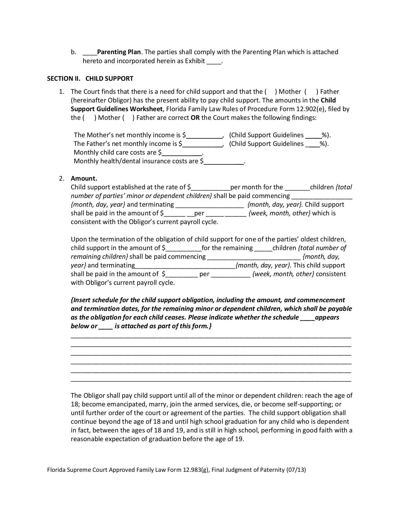 Child Support Guidelines Worksheet Florida