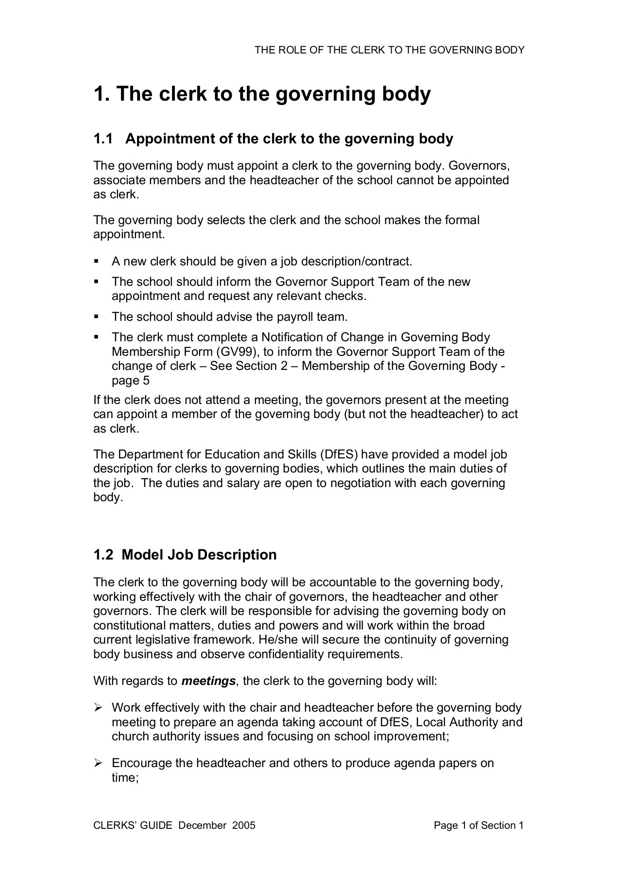 School Clerk Section 1 The Role Of The Clerk To The Governing Body Pages 1