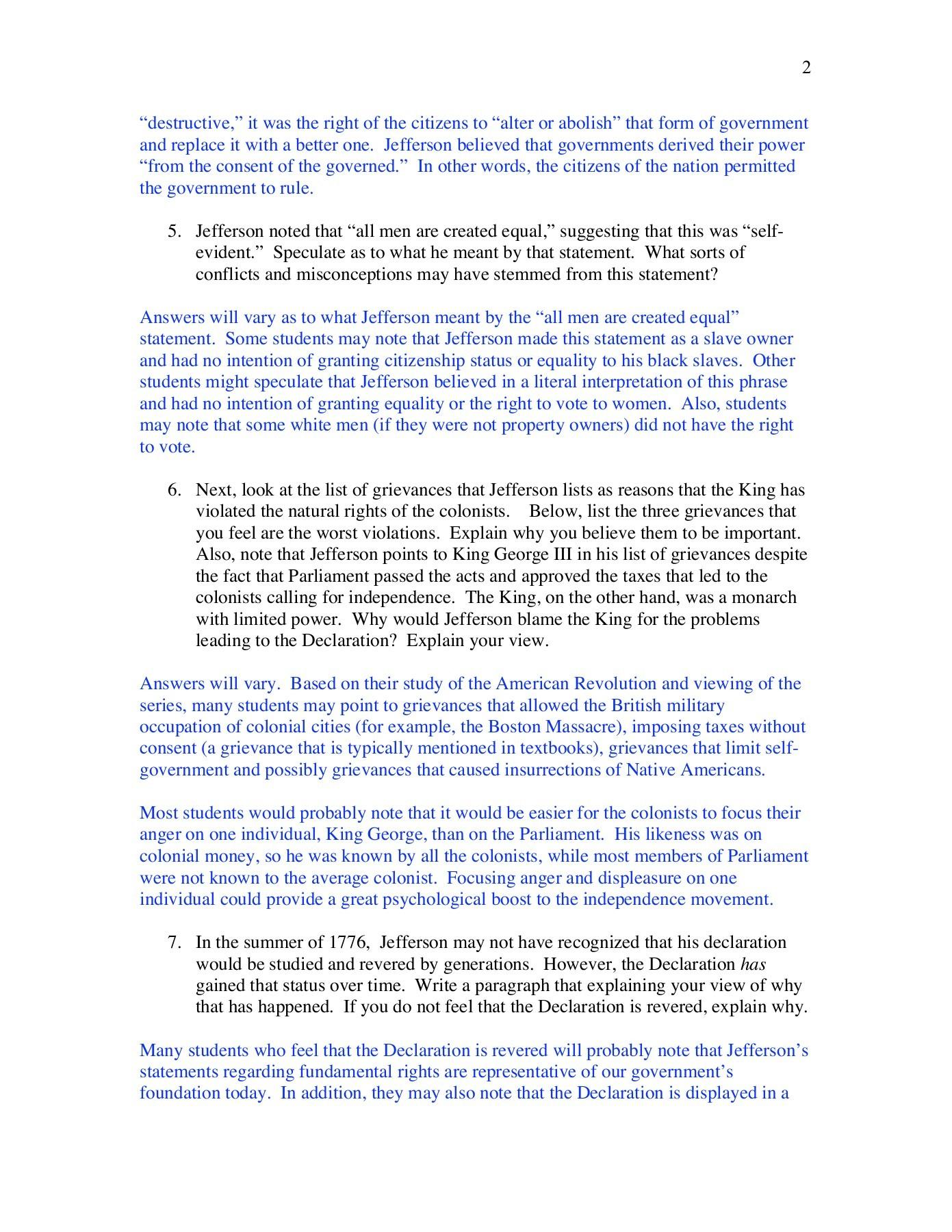 Declaration Of Independence Grievances Worksheet Answer Key