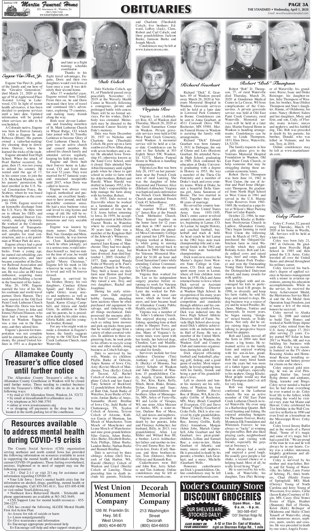 Martin Funeral Home Waukon Ia Obituaries : martin, funeral, waukon, obituaries, Standard, Newspaper, Waukon,, 4-1-20, Pages, Download, FlipHTML5