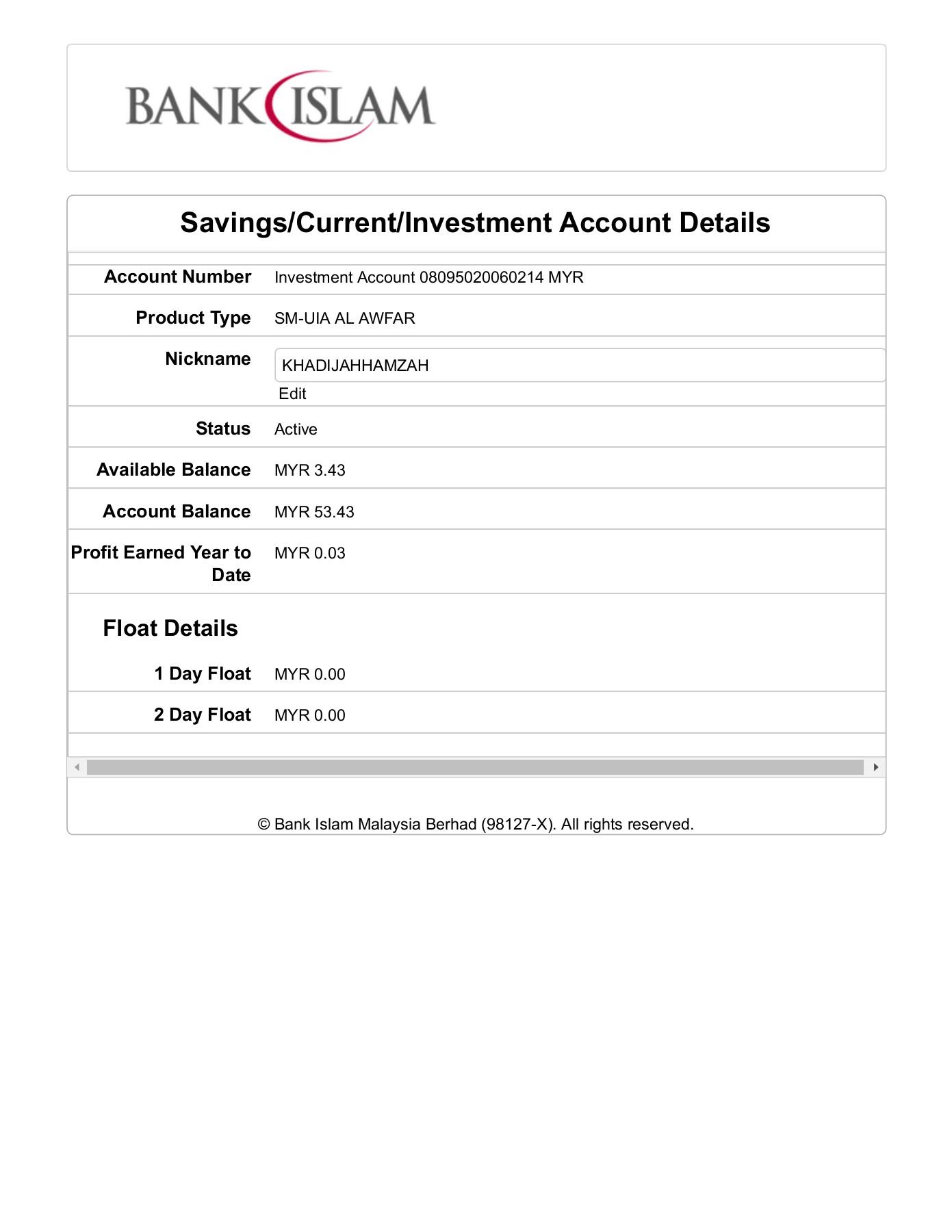 Bank Islam Ib Details