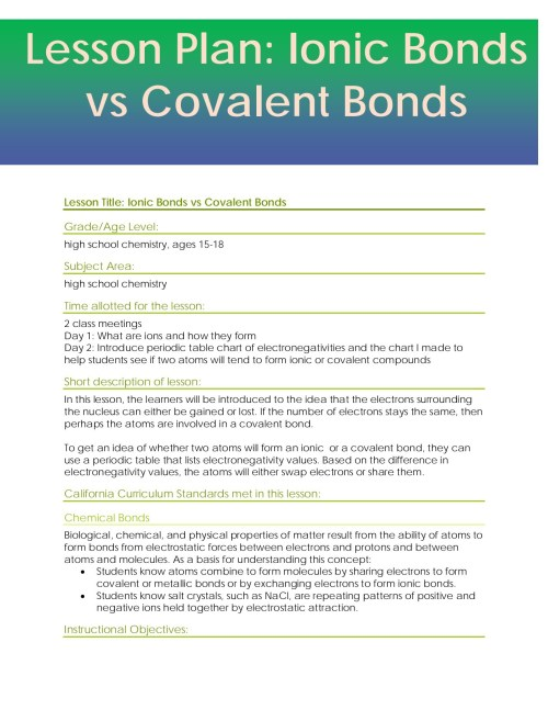 small resolution of Ionic And Covalent Bonding Worksheet 8th Grade   Printable Worksheets and  Activities for Teachers