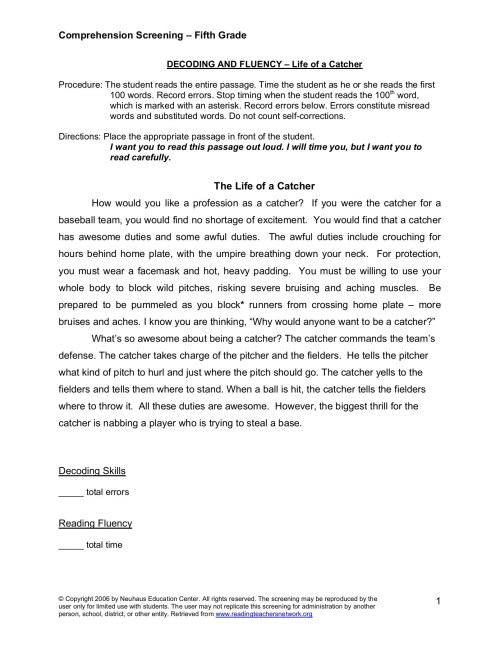 small resolution of Reading Comprehension Screening for Fifth Grade Pages 1 - 8 - Flip PDF  Download   FlipHTML5