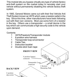 vats passlock transponder universal alarm bypass module pages 1 12 text version [ 1165 x 1800 Pixel ]