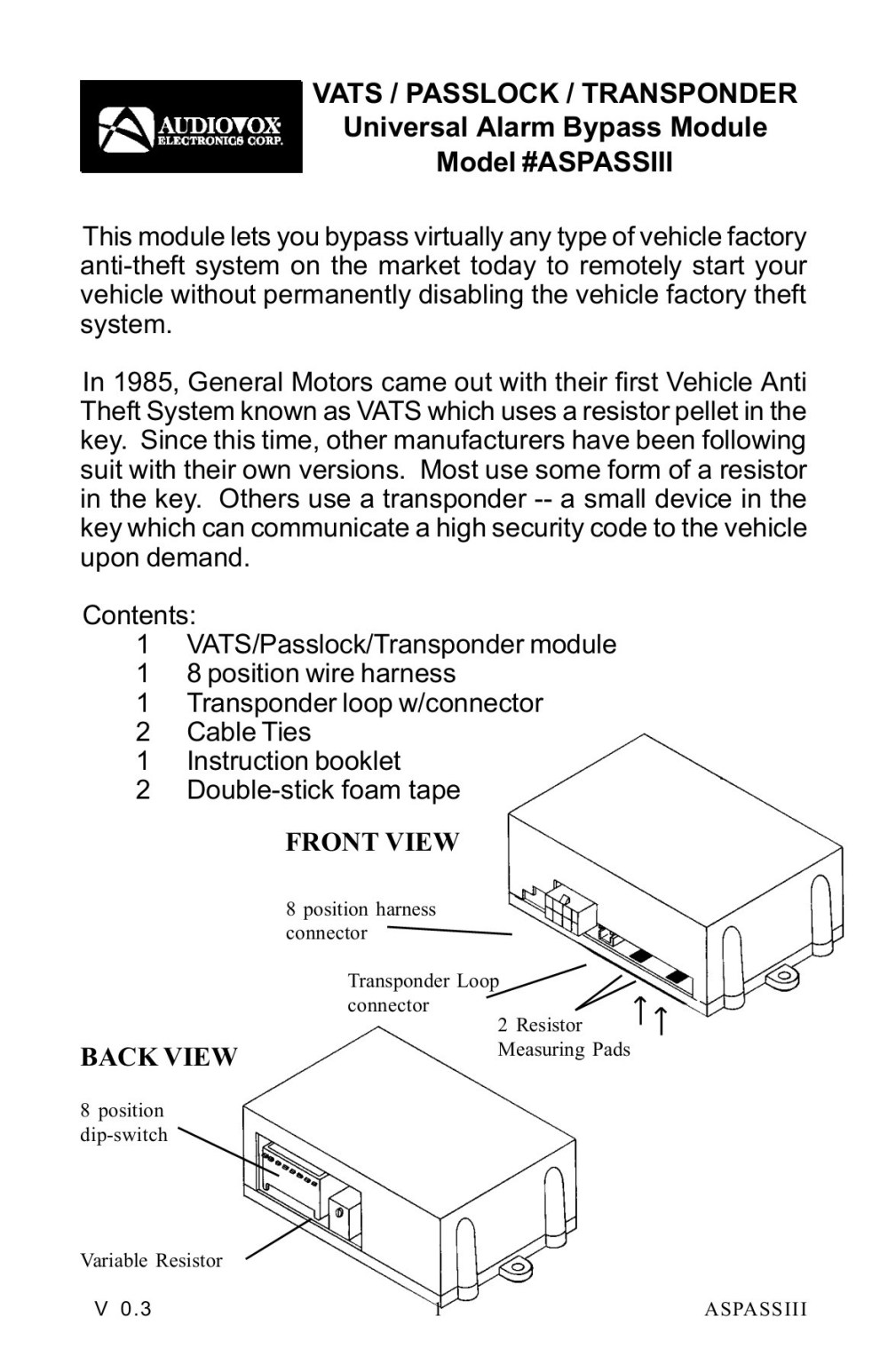 medium resolution of vats passlock transponder universal alarm bypass module pages 1 12 text version