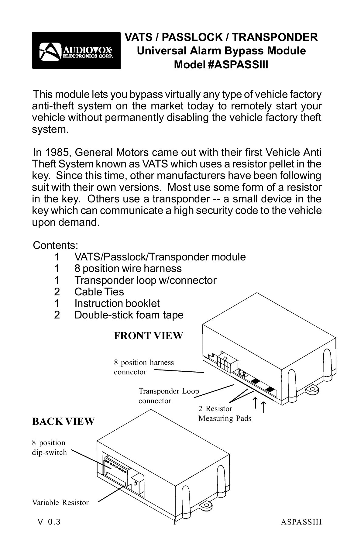 hight resolution of vats passlock transponder universal alarm bypass module pages 1 12 text version