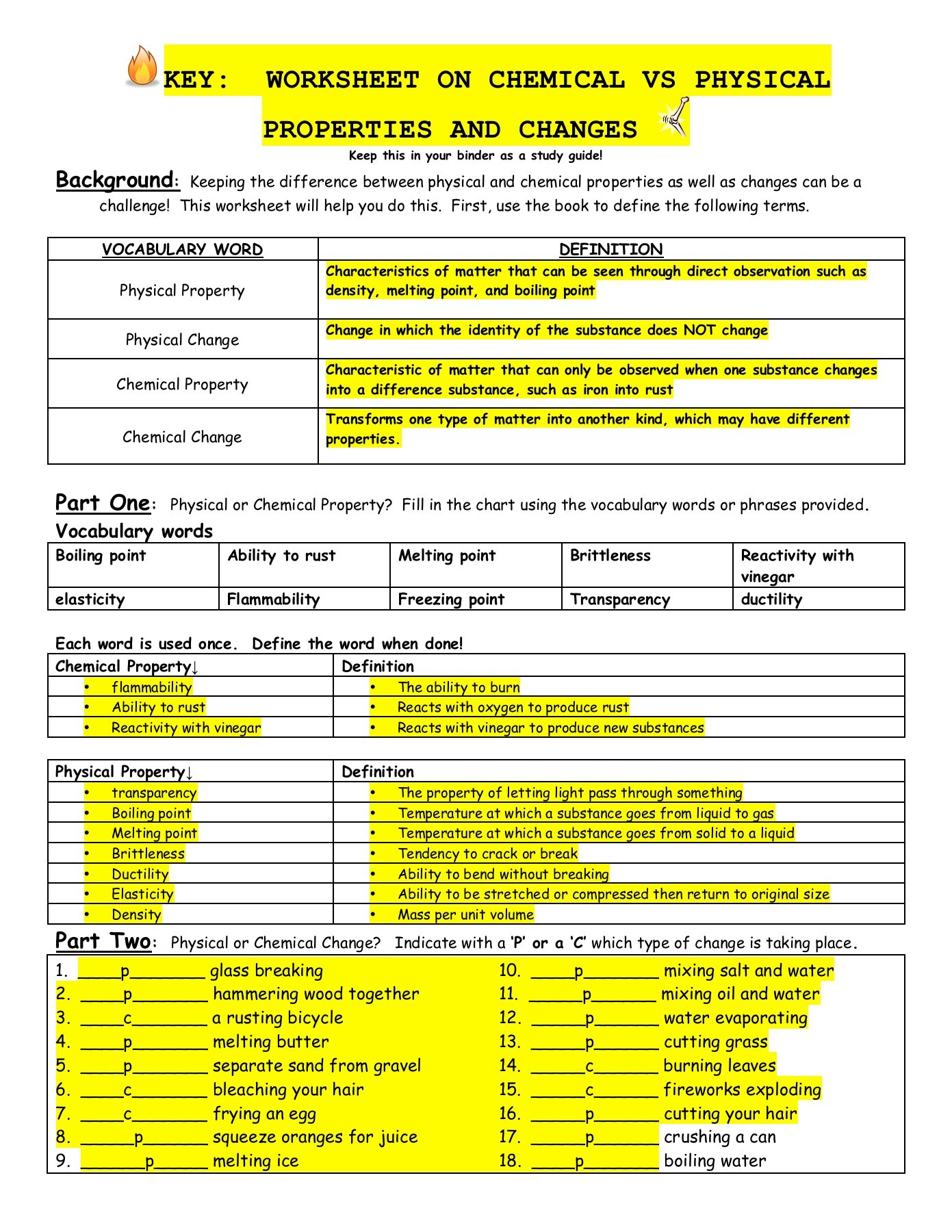 Physical And Chemical Properties And Changes Worksheet Key