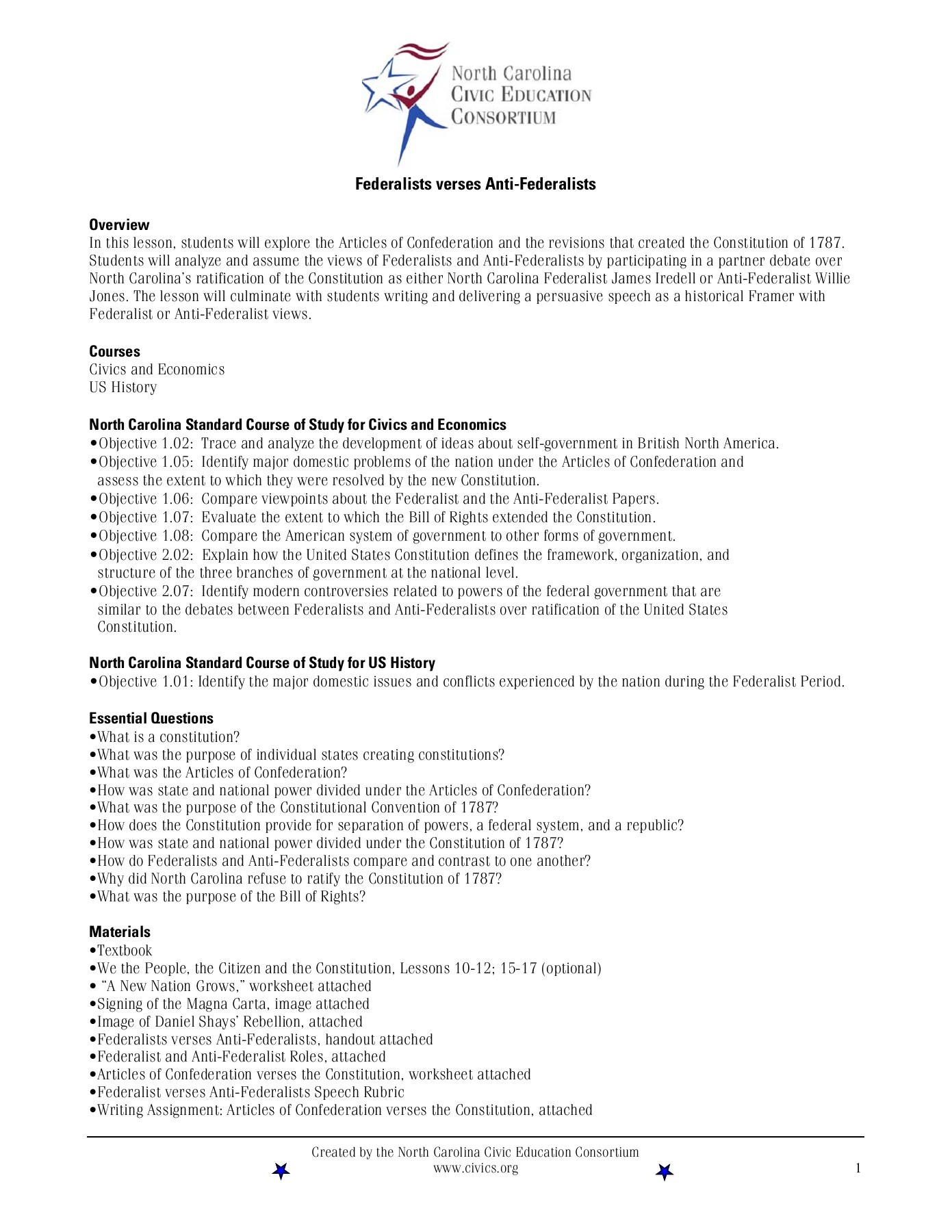 The Articles Of Confederation Worksheet