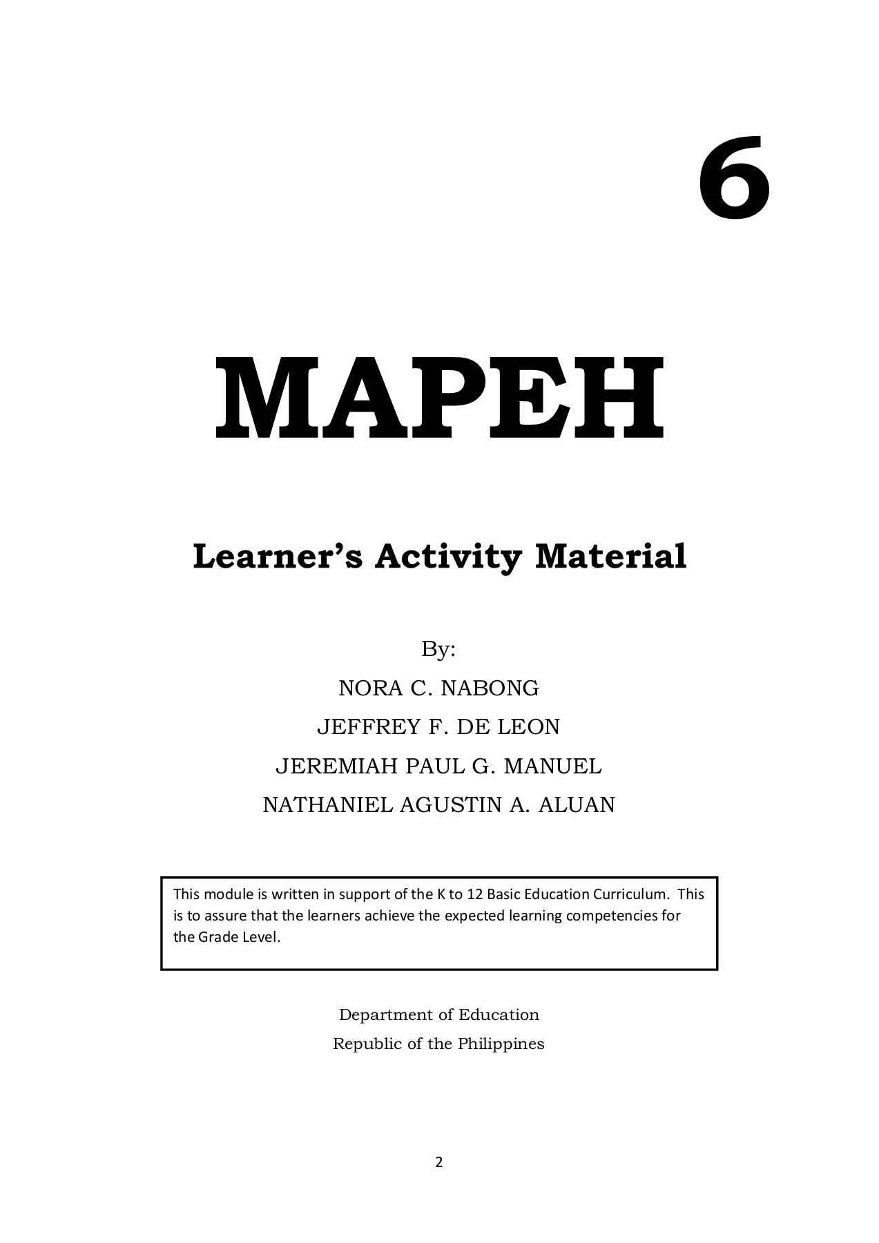 medium resolution of MAPEH-6-WORKSHEETS